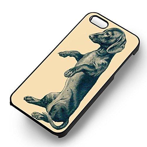Vintage Dachshund pour Coque Iphone 6 et Coque Iphone 6s Case (Noir Boîtier en plastique dur) X5R1VH