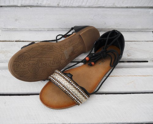 Damen Schuhe Schnürsandale Flats Wickelknöchelriemchen Sandalette (8141) Schwarz Gold