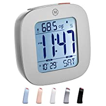 MARATHON CL030058GG Compact Alarm Clock with Temperature and Date - Graphite Grey - Batteries Included