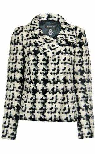 Sutton Studio Womens Black White Wool Blend Snap Front Ja...
