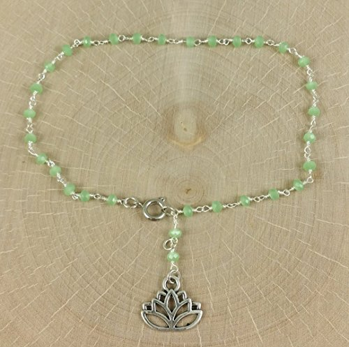 Adjustable Anklet Light Leaf Green Crystal Beaded Chain in Sterling Silver with Lotus Blossom Charm Dangle Light Simple Scallop