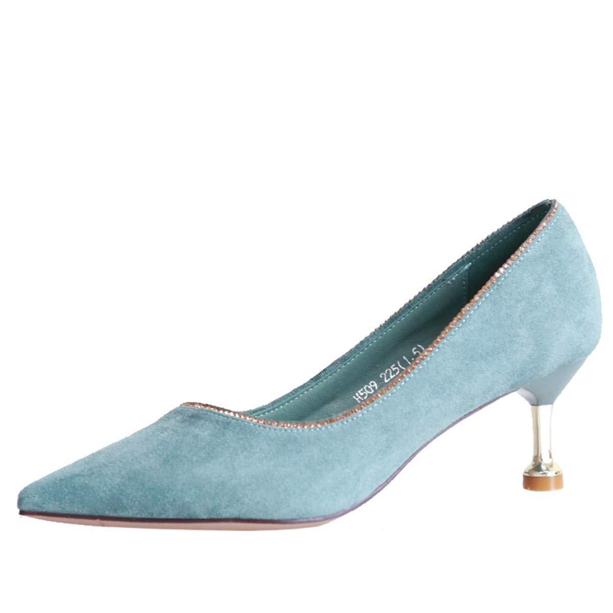 KPHY Damenschuhe/Im Herbst Mode Katzen und Pointcuts Damenschuhe Gut Mit Dem Nahen Flachen Wildleder Single-Diamant-Schuhe.36 Blaue Farbe