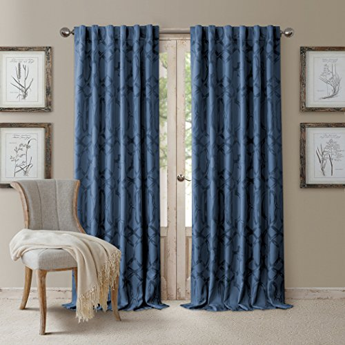 Elrene Darla Lattice Ironwork Design Blackout Room Darkening Convertible Rod Pocket or Back Tab Single Window Curtain Panel by, 52 Inch Wide X 108 Inch Long, Navy Blue ()
