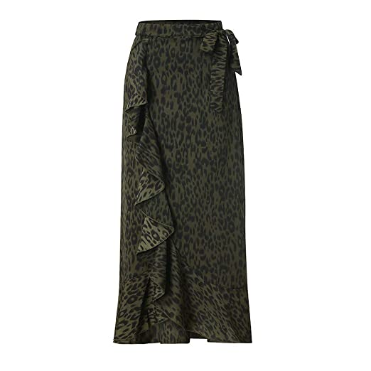 Amazon.com: YKARITIANNA Women Daily Summer Bohemia High Waist Leopard Ruffle Beach Wrap Maxi Long Skirt