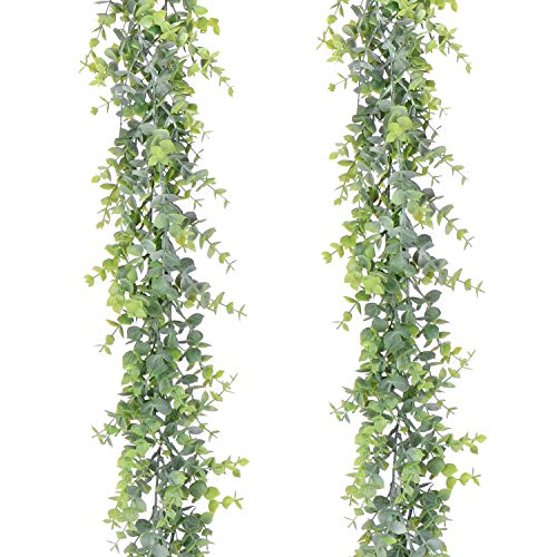 Artiflr Artificial Vines Faux Eucalyptus Garland, 2 Pack Fake Eucalyptus Greenery Garland Wedding Backdrop Arch Wall Decor, 6 Feet/pcs Fake Hanging Plant for Table Festival Party Decorations (Wholesale Garland)