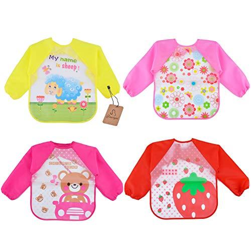 Sleeve Bibs, Aniwon 4Pcs Baby Bibs Cute Animal Food Waterproof Bibs with  Sleeves for 1-5 Years Old Infant Toddler