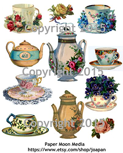 - Victorian Teapot and Teacups with Flowers Collage Sheet