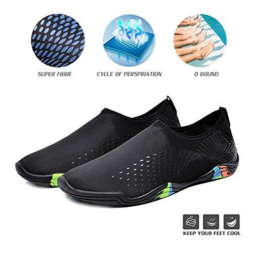 WateLves Wasserschuhe Mens Womens Beach Swim Schuhe Quick-Dry Aqua Socken Pool Schuhe für Surf Yoga Wassergymnastik Nz.black