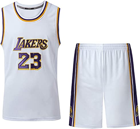 AIALTS Ensemble Maillot Basketball pour Adolescents Et Enfants Adultes, NBA Lakers 23 James Uniforme De Basket Ball, Basket Ball À Séchage Et Short