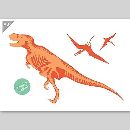 Plantilla de dinosaurio - 2 capas de cartón - A3 42 x 29,7cm - Ancho ...