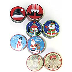 Christmas Empty Tins ([ Total 8 ct ] Snowman, Santa, Bell, Sock etc.)