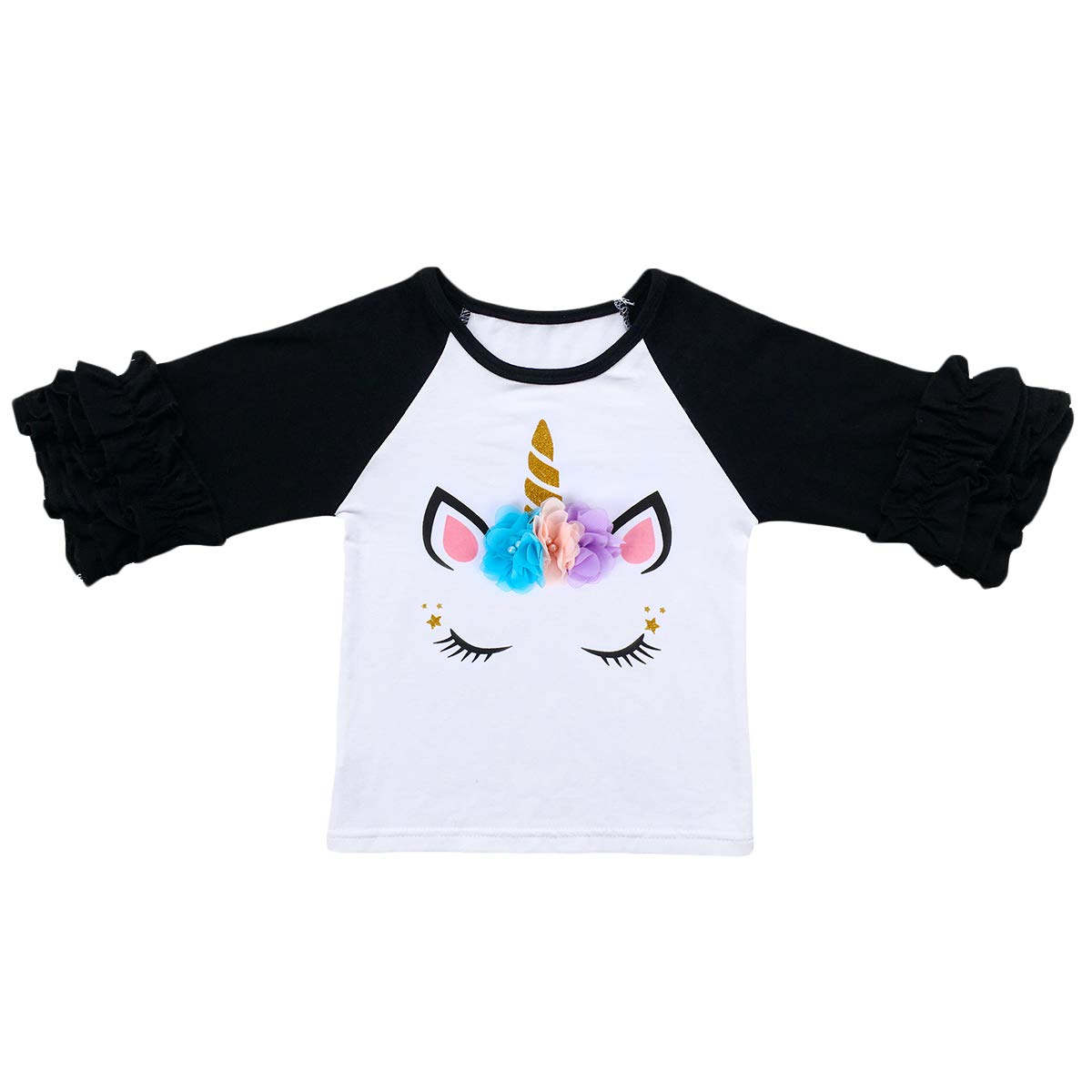 14c46d4a Amazon.com: Unicorn Shirt for Toddler Little Girls Icing Ruffle T-Shirt 3/4  Sleeves Baseball Tees Baby Cotton Tops Birthday Clothes: Clothing