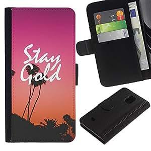 iBinBang / Flip Funda de Cuero Case Cover - Puesta del sol púrpura de Los Ángeles - Samsung Galaxy S5 Mini, SM-G800, NOT S5 REGULAR!