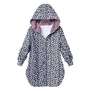 Red Ta Women Winter Plus Size Long Sleeve Button Top Jacket,Ladies Casual Flower Print Hooded Sweatshirt Overcoat Outwear