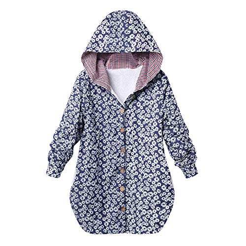 - Red Ta Women Winter Plus Size Long Sleeve Button Top Jacket,Ladies Casual Flower Print Hooded Sweatshirt Overcoat Outwear