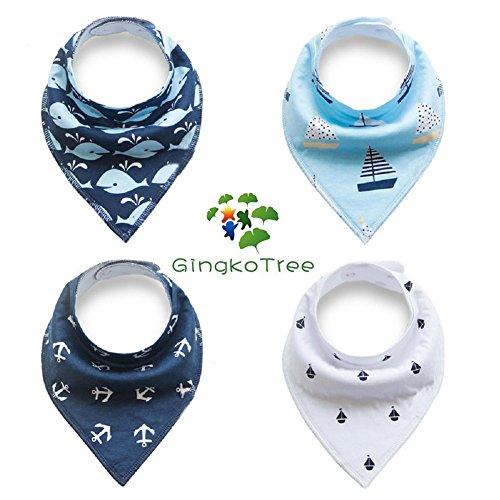 GingkoTree Baberos del Bebé - Paquete de 4 Diseños Pañuelo con Snaps Ajustables, TPU Impermeable Guarnición para niño 0-2 años (Color-4) Color-8