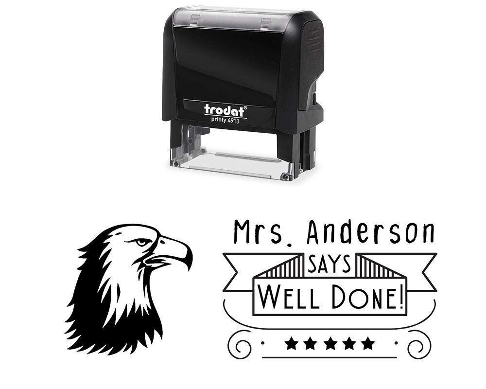 Customized Teacher Rubber Stamp, Self-Inking Well Done Classroom Stamper with Eagle Image. Size Approx. 7/8'' x 2 3/8'' Black, Blue, Green, Purple or Red Ink