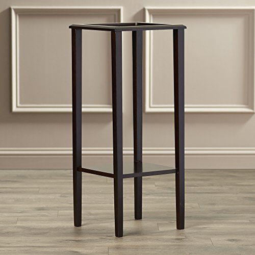 Indoor Plant Stand, Wood Pedestal Telephone Table, Square Contemporary End Table With Bottom Storage Shelf, Brown Finish by Simple Living Products (Image #5)'