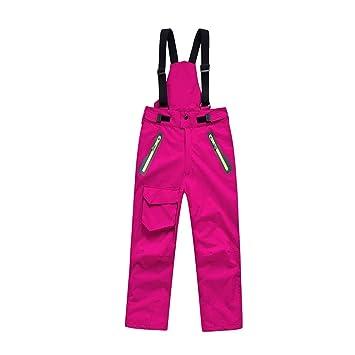 BeIM Kinder Skihose Schneehose Jungen Mädchen Funktionshose mit abnehmbaren Hosenträgern und Reißverschlusstaschen Innenfutte