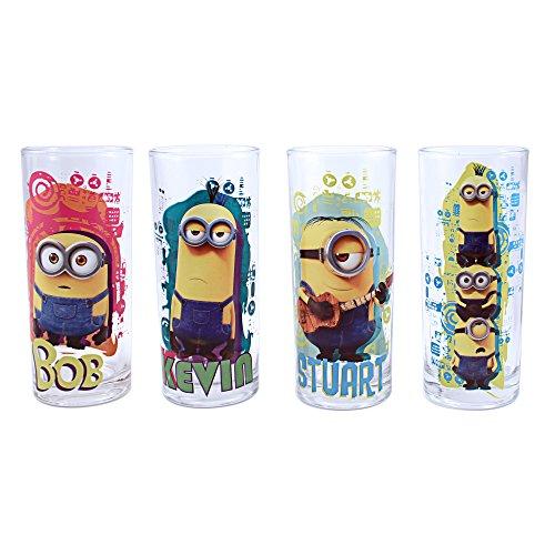 [Universal 4 Piece  DM031T1 Despicable Me Minion Madness Tumbler Glass Set, 10 oz, Multicolor] (Despicable Me Glasses)
