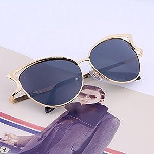 Gold Frame Gray Lens Women Ladies Cat Eye Retro Vintage Style Metal Frame Sunglasses Eye Glasses