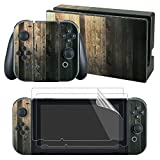 Cheap eXtremeRate Old Wood Decals Stickers Full Set Faceplate Skin +2Pcs Screen Protector for Nintendo Switch Console & Joy-con Controller & Dock Protection Kit