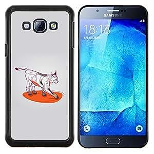 Caucho caso de Shell duro de la cubierta de accesorios de protección BY RAYDREAMMM - Samsung Galaxy A8 A8000 - Patas de color del arte del gato salvaje Bobcat