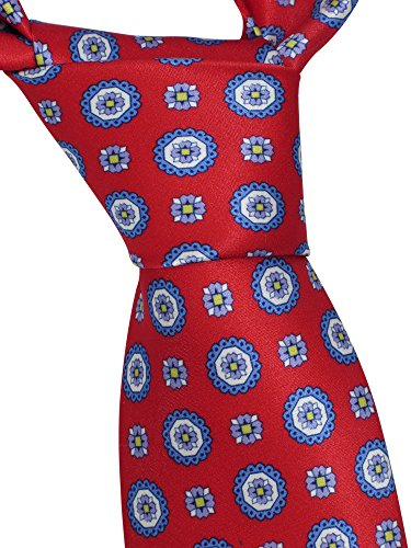 Brioni Men's Red Floral 100% Silk Skinny Neck Tie by Brioni