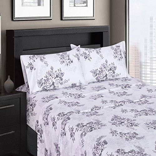 Ultra Soft & Exquisitely Smooth Genuine 100% Plush Cotton Floral Bally Percale 300TC Sheet Set, 4 Piece Queen Size Deep Pocket Sheet Set, Gray/Purple
