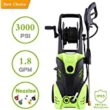 Homself 3000 PSI Electric High Pressure Washer 1.80 GPM 1800W Electric Power Washer with 5 Quick-Connect Spray Tips (3000psi-1)