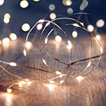 DecentGadget® 50 Warm White LED Light String 16.5ft Long Silver Coated Copper Wire Fairy Starry Lighting AA Battery Powered Indoor Decorating(Battery NOT Included)