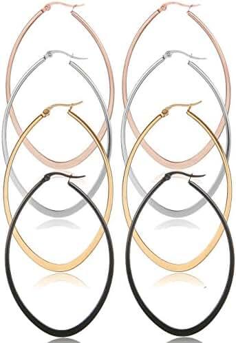 Areke Stainless Steel Oval Teardrop Hoop Earrings For Women,Hypoallergenic Huggie Rose Gold Black Silver