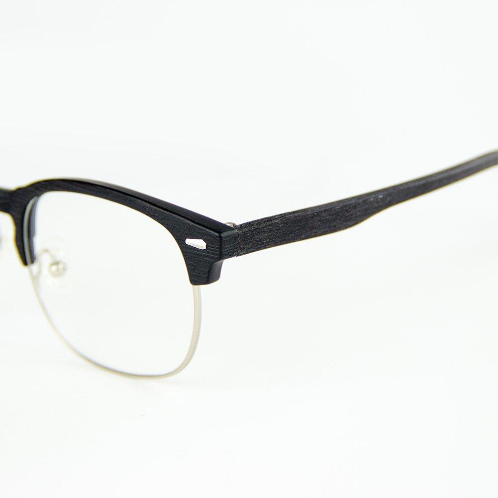 mejor dormir transparente lente anti fatiga de ojos Cyxus TR90 ligero flexible gafas filtro de luz azul marco redondo Marco negro mate de grano de madera