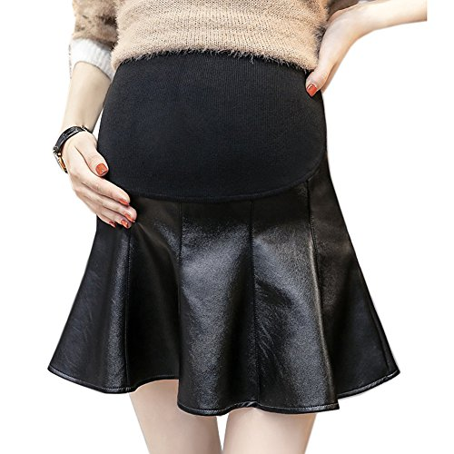 おそらくティーンエイジャー真鍮Spinas(スピナス) マタニティ インナーパンツ 付き フェイクレザー フレア スカート PUレザー 産前 産後 対応 ミニ 丈 ブラック シンプル (XL)