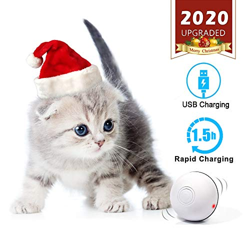 MHMYDIS Smart Interactive Cat Toy – USB Rechargeable 360 Degree Self Rotating Ball Build-in Spinning Led Light…