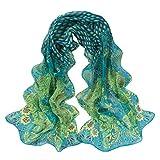 Leewa Hot Sale ! Women Peacock Pattern Soft Silk Chiffon Shawl Wraps Scarf (158 x 50cm, Green)