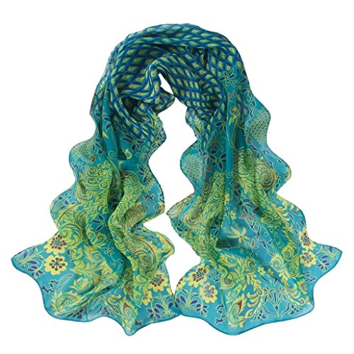 Leewa Hot Sale ! Women Peacock Pattern Soft Chiffon Shawl Wraps Scarf (158 x 50cm, Green)