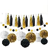 28 pcs Party Decorations Kit with Tissue Paper Pom Poms Tissue Paper Flowers Polka Dot Garland Glitter Tassel Garland Circle Garland Paper Craft Supplies for Party (White/Glitter Gold/Black)
