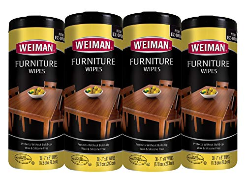 (Weiman Wood Cleaner and Polish Wipes - 4 Pack [120 Wipes] - For Furniture To Beautify & Protect No Build-Up Contains UVX-15 Pleasant Scent Surface Safe - 30 Count Each)