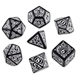 Q-Workshop Polyhedral 7-Die Set: Carved Steampunk Dice Set (Black & White) by Q-Workshop