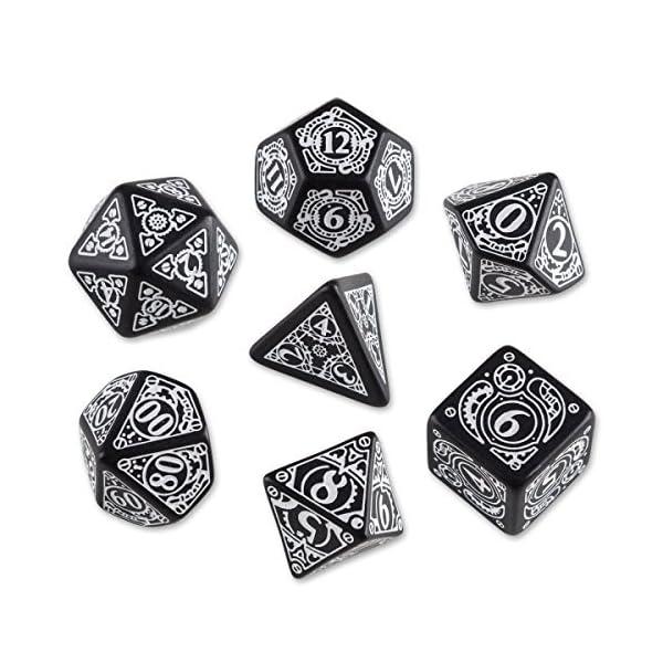 Q-Workshop Polyhedral 7-Die Set: Carved Steampunk Dice Set (Black & White) by Q-Workshop 3