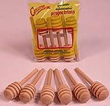 Creative Hobbies® 4 Inch Honey Dipper Wood Stick Server for Honey Jar Dispense Drizzle Honey New -Pack of 6