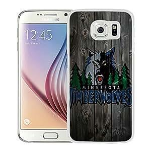 New Custom Design Cover Case For Samsung Galaxy S6 Minnesota Timberwolves 4 White Phone Case