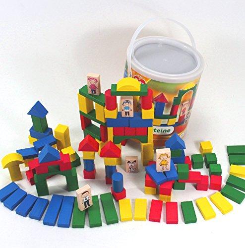 Große BAUSTEINE Spieltrommel Holz 120 Teile mit Figuren Kinder 1-5 Jahre ~yx