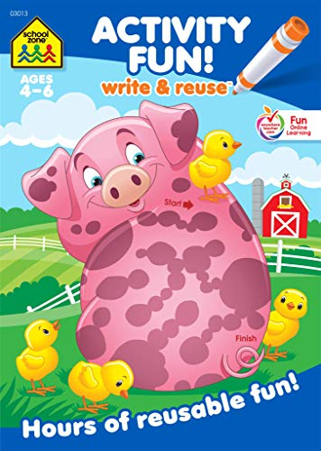 School Zone - Activity Fun! Write and Reuse Workbook - Ages 4 to 5, Preschool through Kindergarten, Numbers, Counting, Pre-Writing, Wipe Clean (School Zone Write and Reuse Book Series) (Write & Reuse)