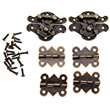 Dophee 2pcs Retro Design Decorative Cabinet Jewelry Box Latch Hasps with 4 Butterfly Hinge and 28 Screws