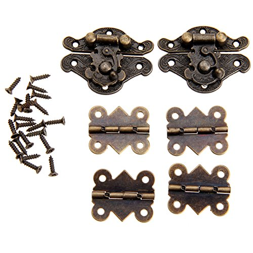 Dophee 2pcs Retro Design Decorative Cabinet Jewelry Box Latch Hasps with 4 Butterfly Hinge and 28 ()