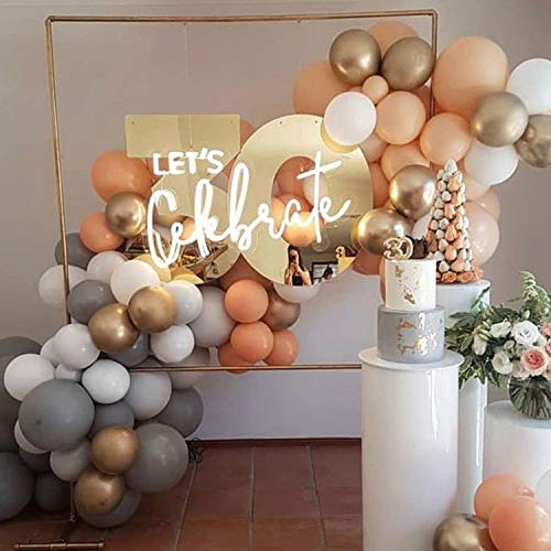 Soonlyn Latex Party Balloons 100 Pcs 12 Inch Gold White Orange Blush Gray Balloons Arch Kit Pastel Round Balloons for Wedding Party Bridal Shower Birthday Party Theme Party Events