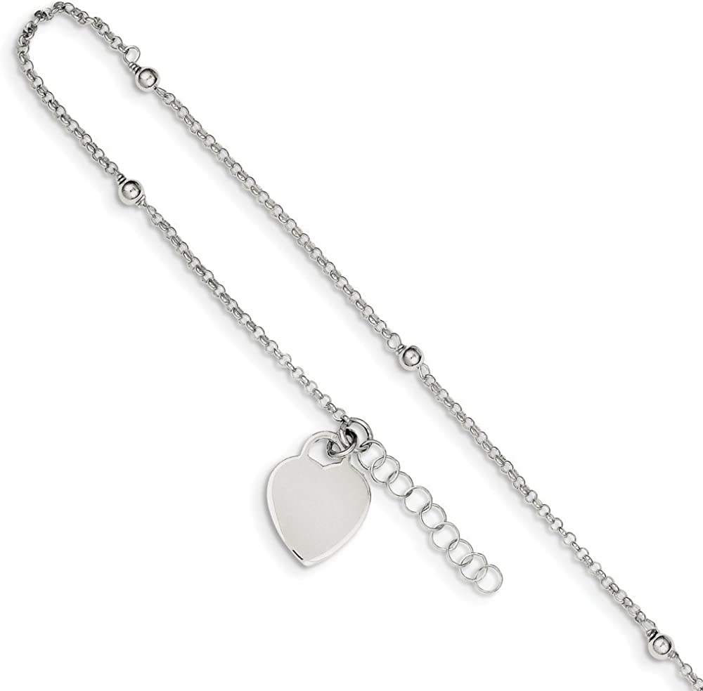 925 Sterling Silver 1.5mm Polished Bead and Heart Chain Anklet with 1in Extender Length
