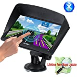 Xgody Portable Truckers GPS with Sun Shade Capacitive Touch screen 8GB ROM 7 Inch Car GPS Navigation System Bluetooth AT NAV with Lifetime Maps Black